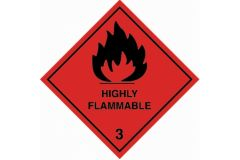 Highly Flammable 3 100x100mm Vinyl Label